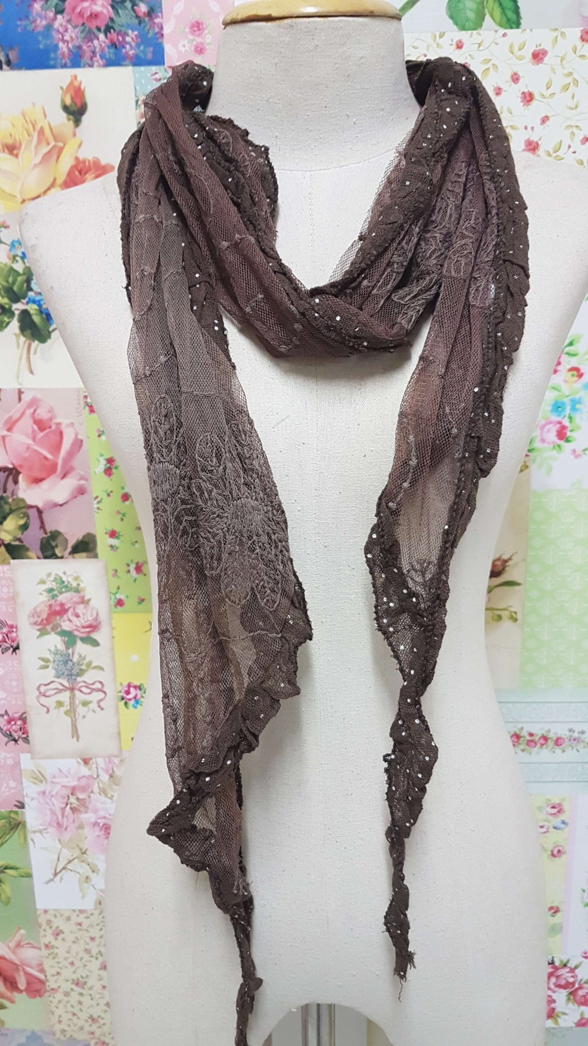 Brown Lace Scarf SE069
