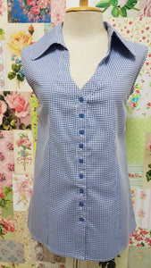 Blue & White Check Blouse BK092