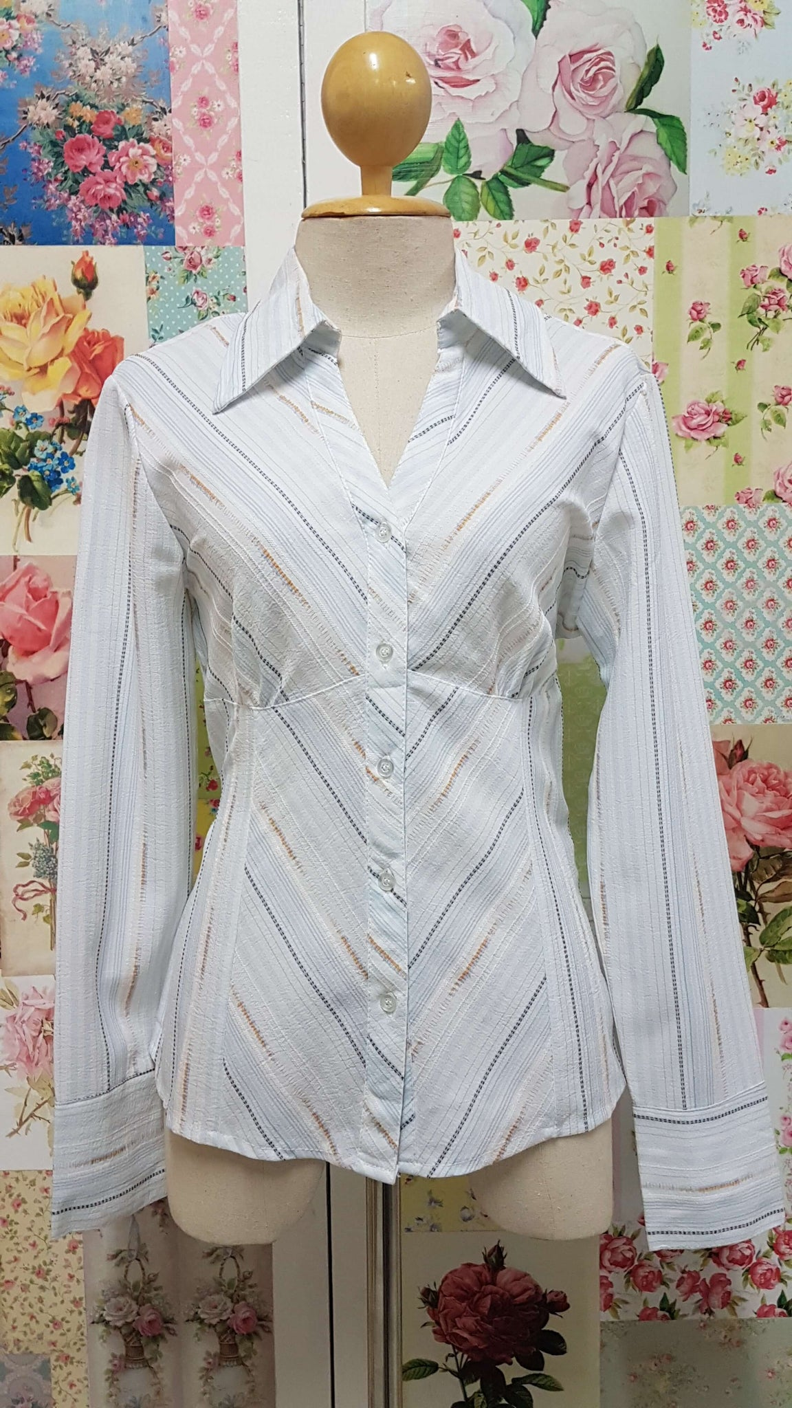 Striped White Shirt BK084