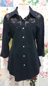 Black Denim Blouse BK0132