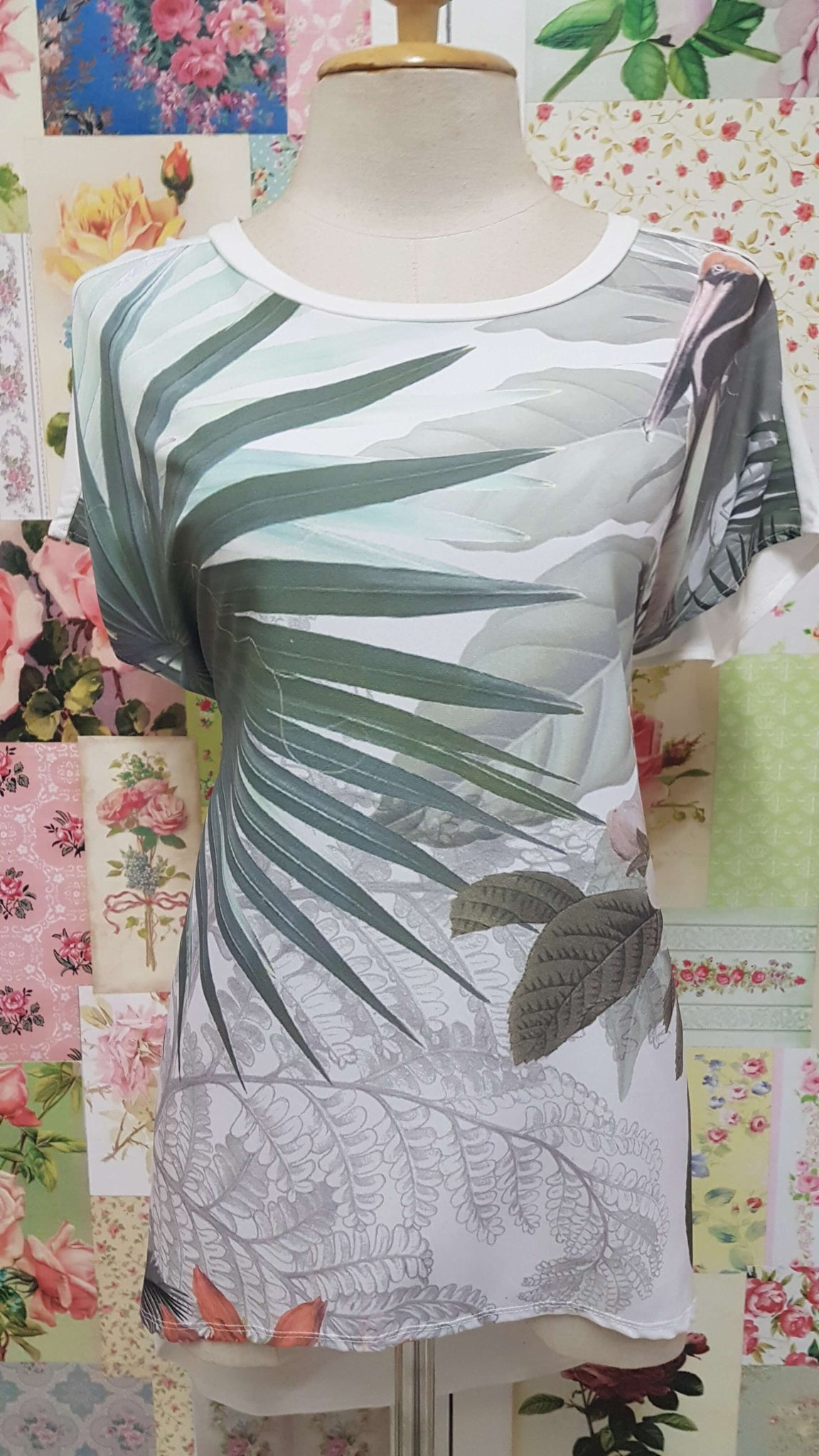 White & Green Printed Top MY061