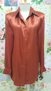 Rust Satin Blouse BK0165