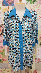Blue Printed Blouse BK0163