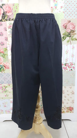 3/4 Black Denim Pants BK0382