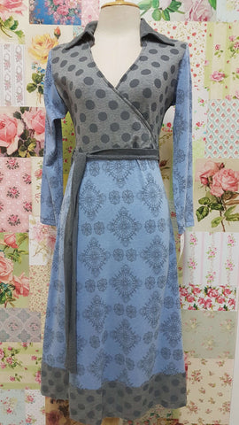 Grey & Blue Printed Dress PD009