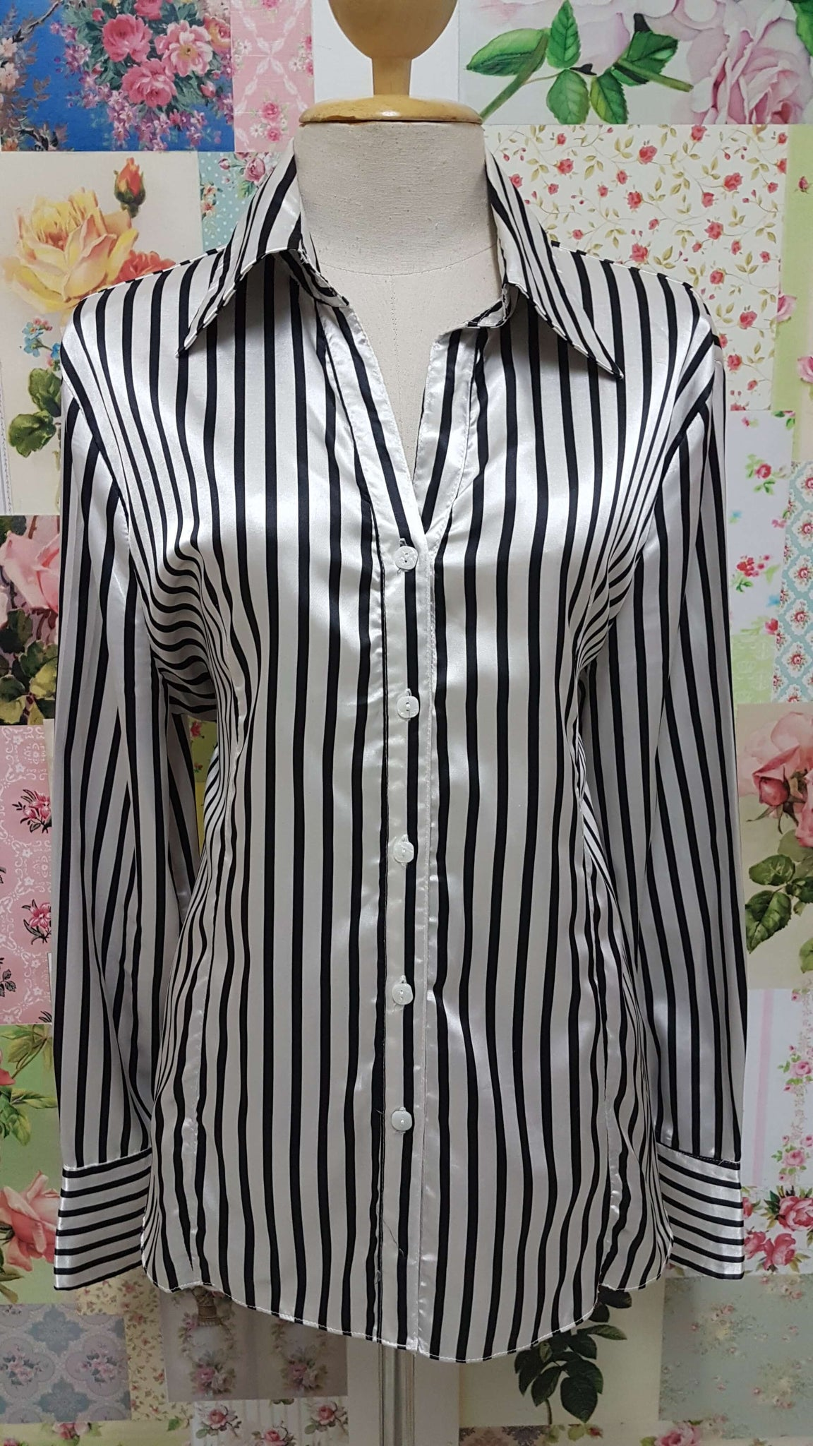Black & White Striped Blouse BT095