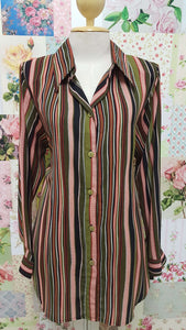Olive Green Striped Blouse BS081