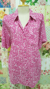 Pink & White Floral Printed Blouse BT0136