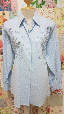 Blue & White Blouse BU0162