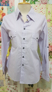 Lilac & White Striped Blouse CE058