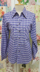 Purple & Navy Check Blouse CE057