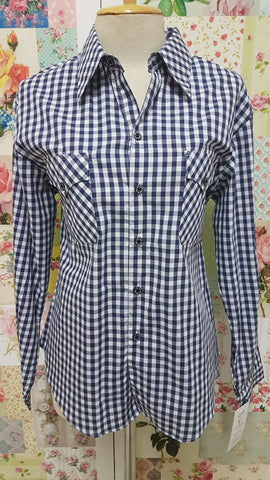 Navy & White Check Blouse CE055