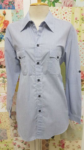 Blue & White Striped Blouse CE046