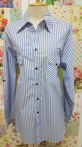 White & Blue Striped Blouse CE027