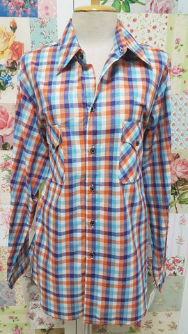 Blue Check Blouse CE043