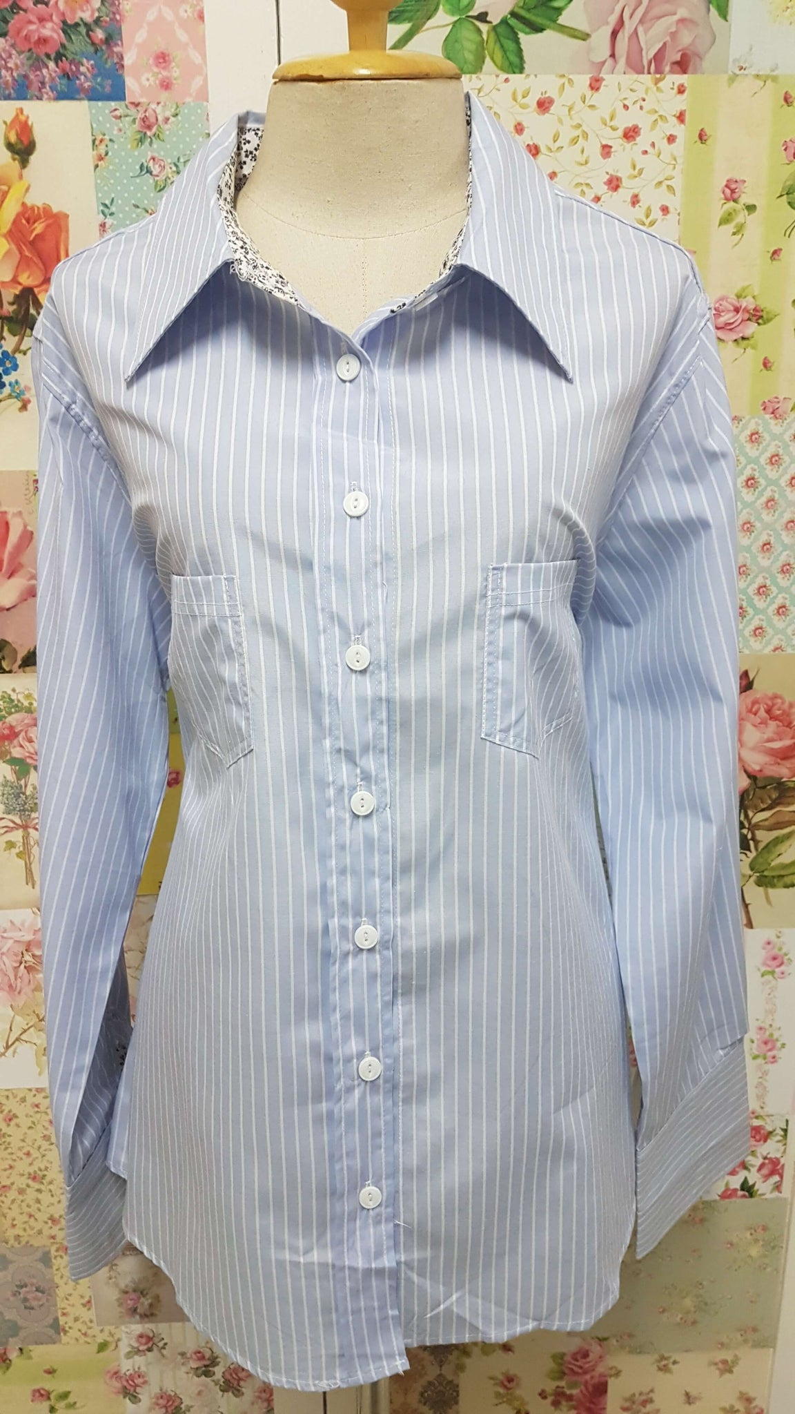 Blue & White Blouse BU0135