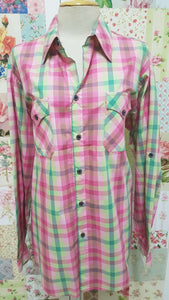 Pink & Green Check Blouse CE039