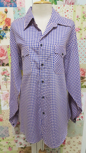 Blue & Pink Check Blouse CE036