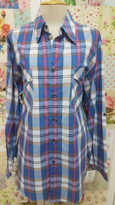 Blue & Pink Check Blouse CE034