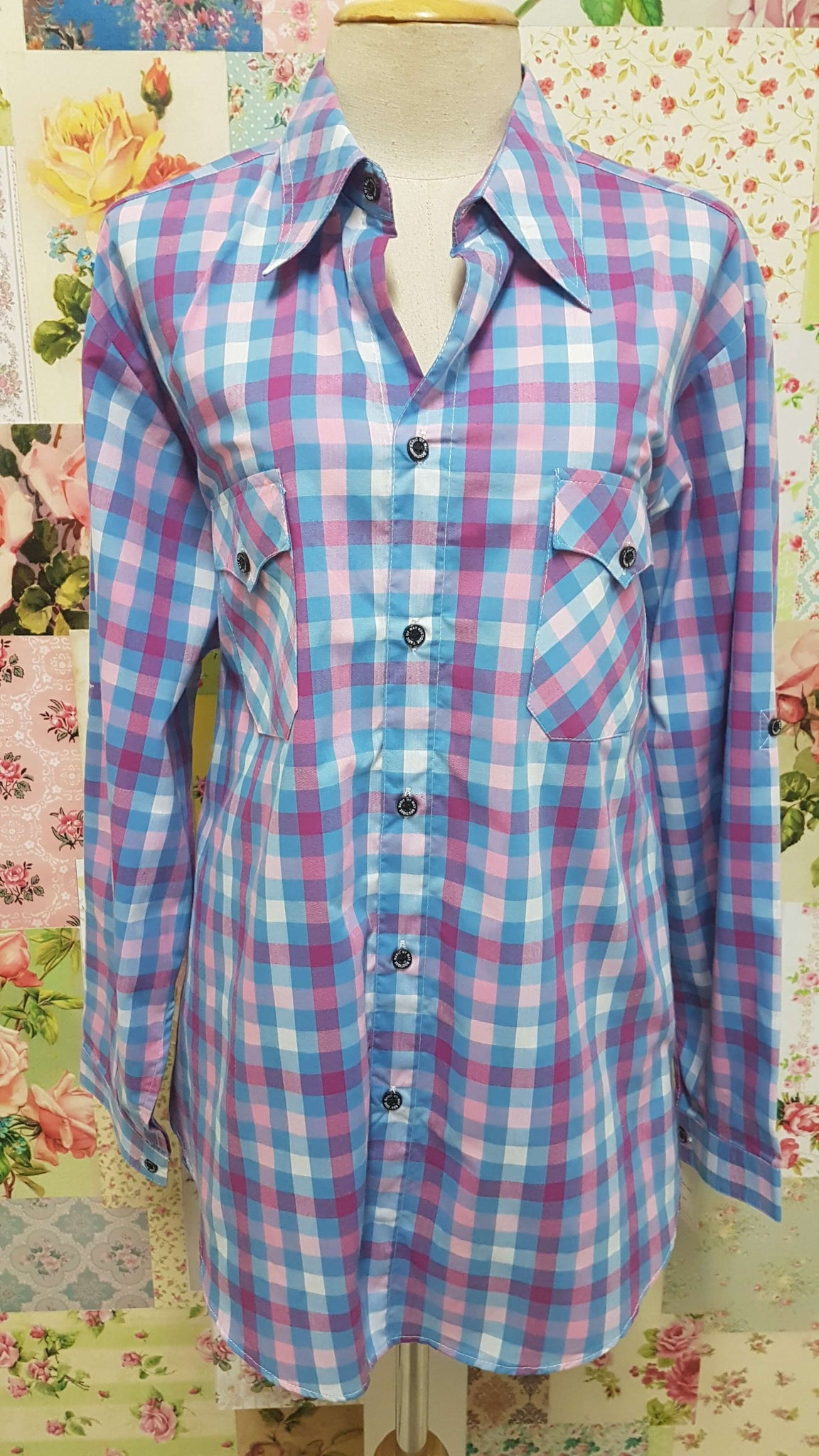Blue & Pink Check Blouse CE062