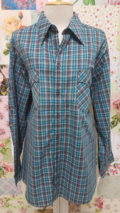 Turquoise & Black Check Blouse CE059