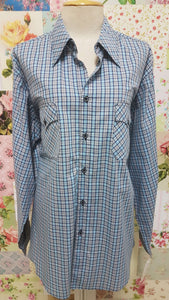 Grey & Blue Check Blouse CE032
