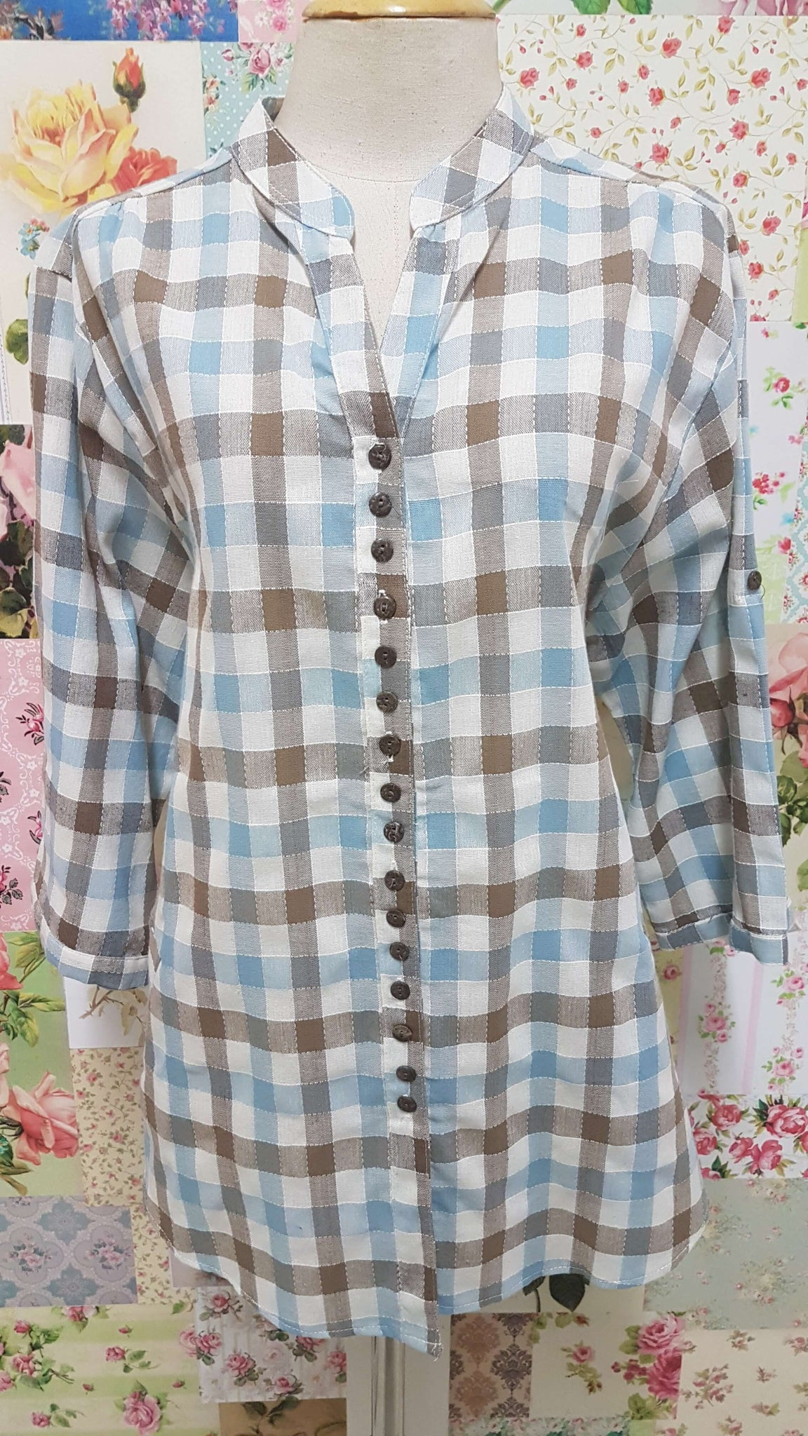 Blue & Brown Check Blouse CE010
