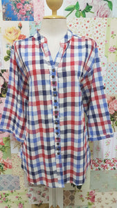 Blue & Red Check Blouse CE008