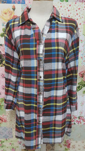 Brown Check Blouse CE003