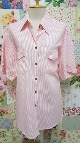 Pink & White Striped Blouse CE011