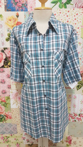 Green Check Blouse CE072