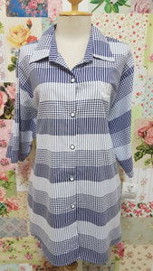 Navy & White Blouse BU0140