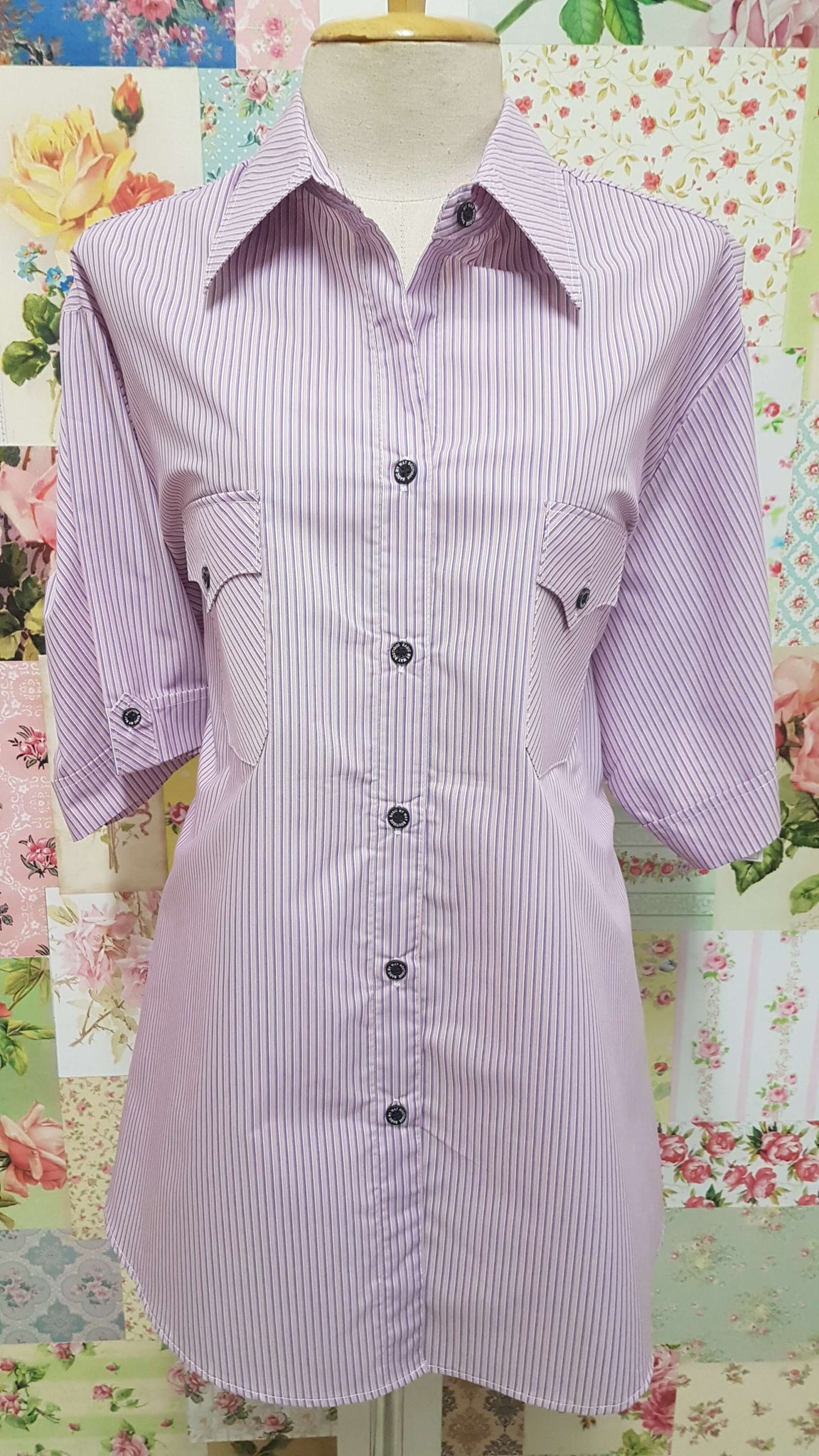 Lilac Striped Blouse CE021