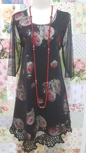 Black Floral Top VB016