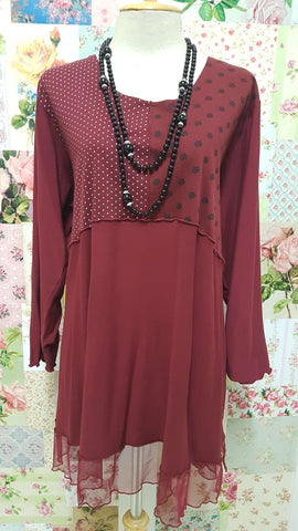 Maroon & Black Top LR0213