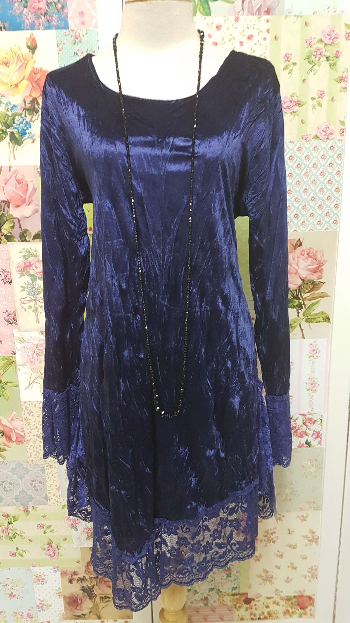 Navy Velvet Top BK0299