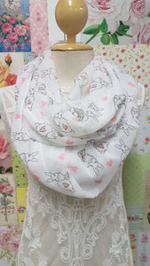 White Printed Snood SE0116