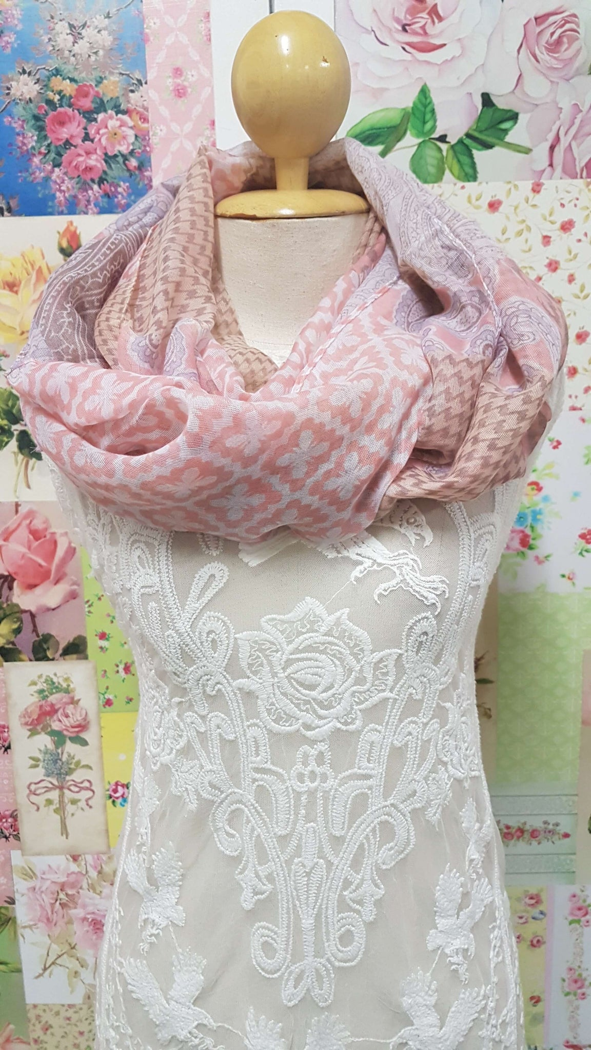 Pink and Brown Scarf SE0141