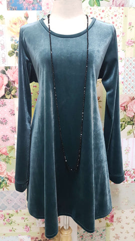 Jade Blue Velvet Top RS080