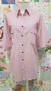 Pink & Yellow Check Blouse CE075