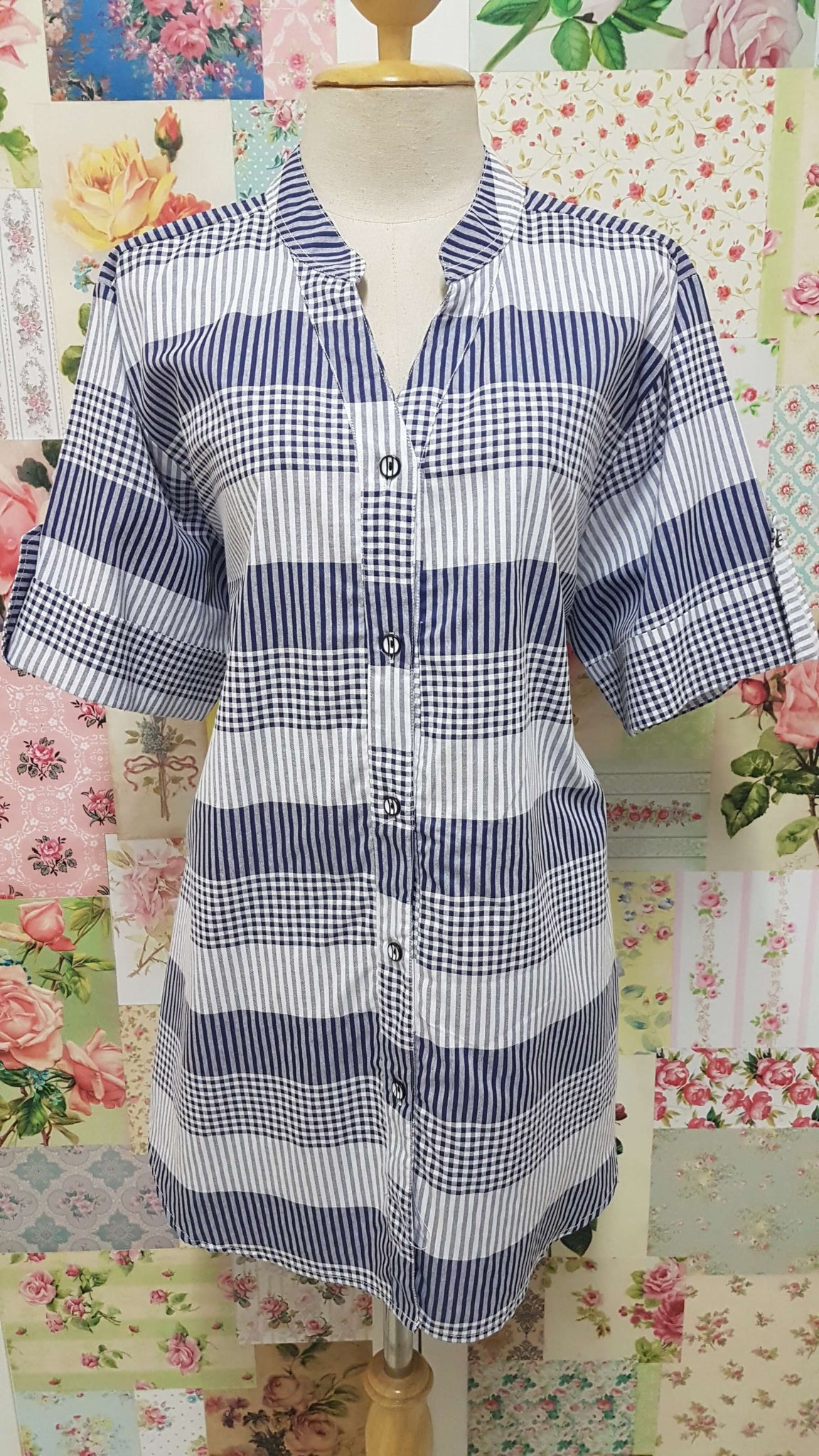 Navy & White Check Blouse CE076