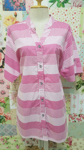 Pink & White Check Blouse CE077