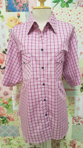 Pink & Stone Check Blouse CE086