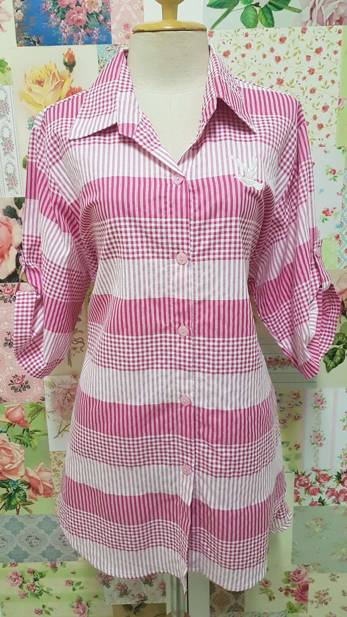 Pink & White Check Blouse CE090