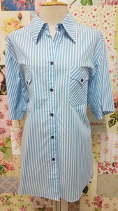 Blue & White Stripe Blouse CE095