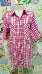 Cerise Pink & White Check Blouse CE0101