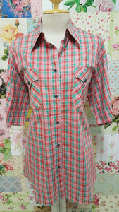 Red & Green Check Blouse CE0104