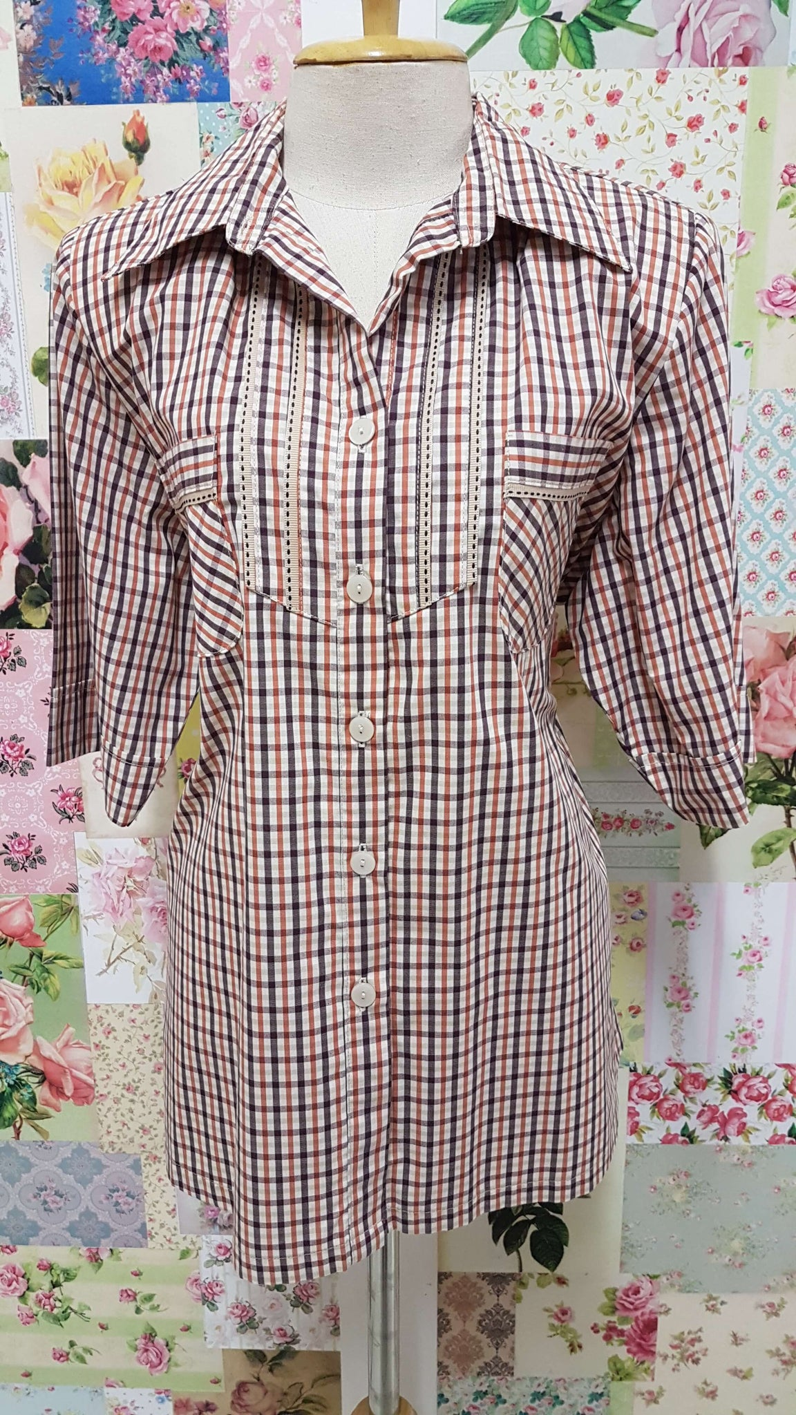 Chocolate Brown & Rust Check Blouse CE0112