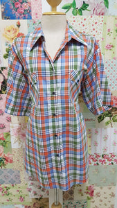 Avocado Green, Blue & Orange Check Blouse CE0121