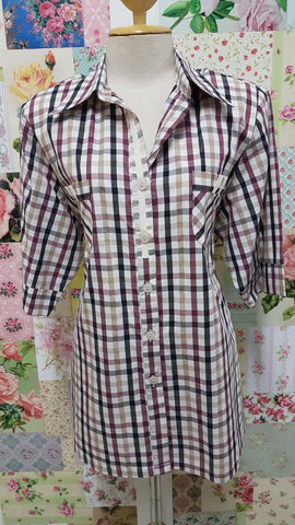 Maroon, Stone & Black Check Blouse CE0126